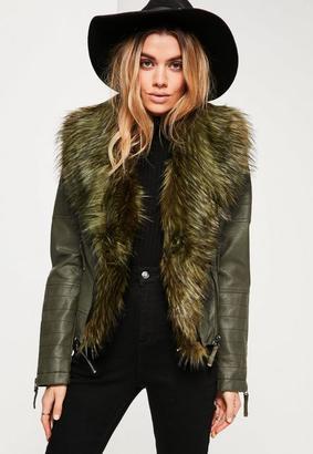 Khaki Faux Fur Collar Faux Leather Jacket $105 thestylecure.com
