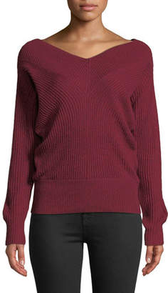 Club Monaco Jemma Ribbed V-Neck Pullover Sweater