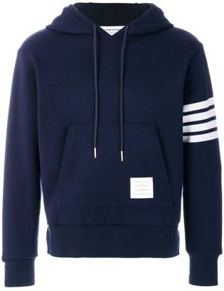 Thom Browne Relaxed Fit Engineered 4-Bar Stripe Cashmere Shell Hoodie Pullover