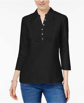 Karen Scott Petite Cotton Collared Top, Created for Macy's