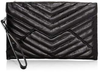 Rebecca Minkoff Quilted Leo Metallic Envelope Leather Wristlet