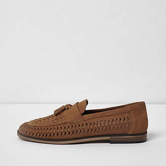 River Island Tan leather woven tassel loafers