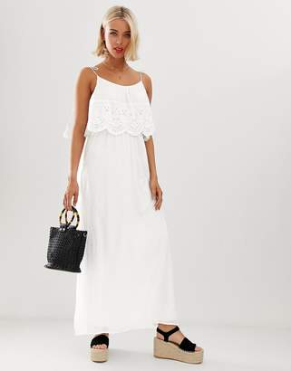 Brave Soul broderie anglais maxi dress in white
