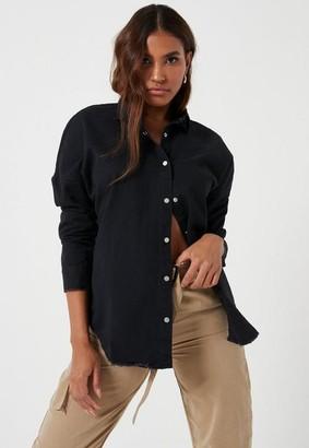 Missguided Black Oversized Washed Denim Shirt