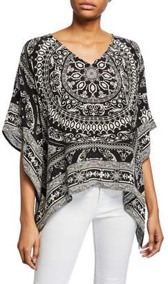 Tolani Briyana Asymmetric Printed Silk Tunic, Plus Size