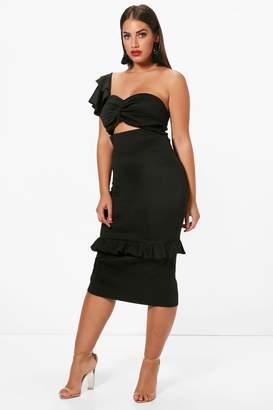 boohoo Plus Scuba One Shoulder Frill Detail Midi Dress