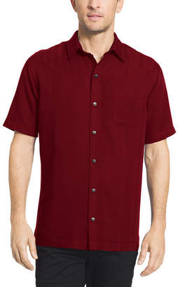Van Heusen Poly Rayon Button Down Short Sleeve Stripe Button-Front Shirt-Big and Tall
