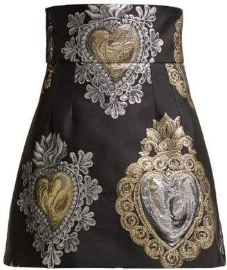 Dolce & Gabbana Heart Jacquard High Waist Mini Skirt - Womens - Black Multi