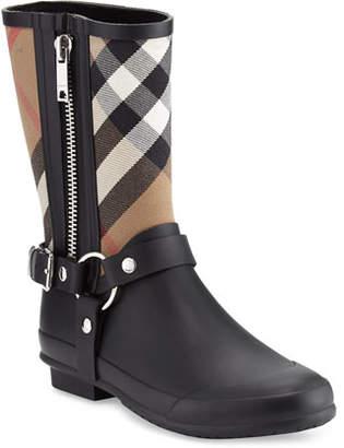 Burberry Zane Check Harness Rain Boots, Black