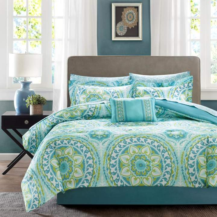 Madison Park Serenity King 9-piece Complete Bed and Sheet Set - Aqua