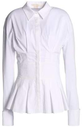 Antonio Berardi Pleated Cotton-Blend Poplin Peplum Shirt