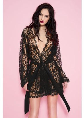 Music Legs Floral lace robe with scalloped trim and satin belt 60082-BLACK