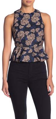 Endless Rose Floral Brocade Peplum Tank