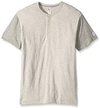 Todd Snyder + Champion Men's Contrast Short Sleeve Henley Shirt