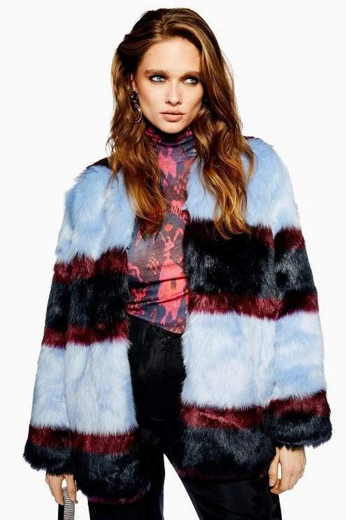 **Colour Block Faux Fur Jacket by YAS
