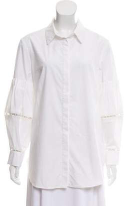 Lela Rose Long Sleeve Button-Up Top