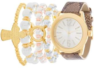 Fortune NYC Women's Quartz Crystal Accented Leather Strap Watch w/ 3 Beaded Bracelets