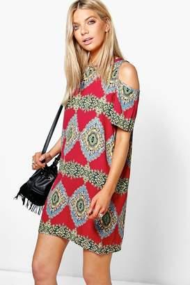 boohoo Paisley Print Cold Shoulder Shift Dress