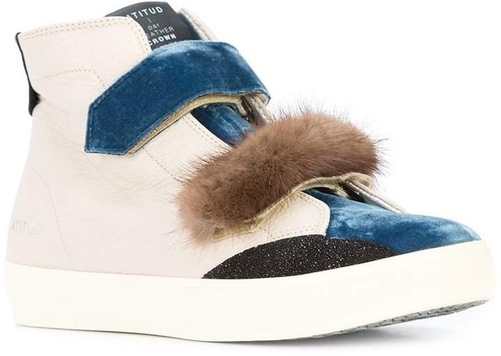 Leather Crown hi-top sneakers