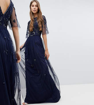 Amelia Rose Tall Embellished Top Cap Sleeve Maxi Dress