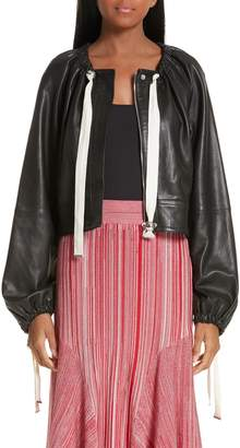 Yigal Azrouel Ruched Neck Leather Jacket