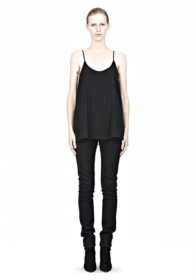 Alexander Wang Jersey Tank With Silk Georgette Overlay