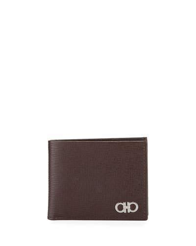 Salvatore Ferragamo Men's Revival Gancini Bi-Fold Leather Wallet, Brown
