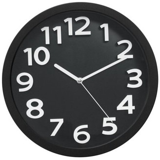 """Victory Light Tempus 13"""" Contemporary Wall Clock with Black Frame and Face with White 3-D Raised Contrasting Numerals and Silent Sweep Quiet Movement"""