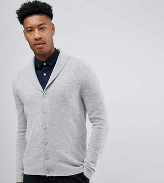 Asos DESIGN Tall lambswool shawl cardigan in light gray