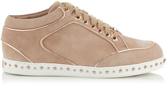 Jimmy Choo MIAMI Ballet Pink Suede Trainers with Metallic Nappa Leather Piping