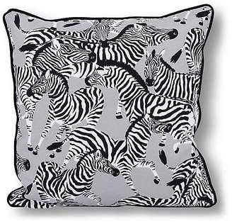 Kim Salmela Zebra 20x20 Outdoor Pillow - Gray