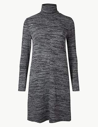 M&S Collection Textured Long Sleeve Mini Shift Dress