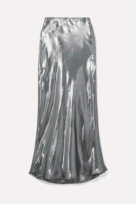Georgia Alice - Hils Silk-blend Lamé Midi Skirt - Silver
