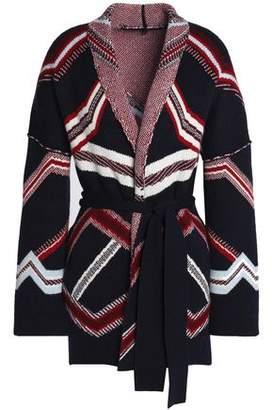 Maje Belted Jacquard-knit Cardigan