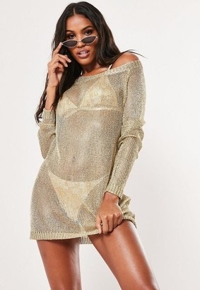 776270f5387 Missguided Gold Metallic Off Shoulder Sweater Dress
