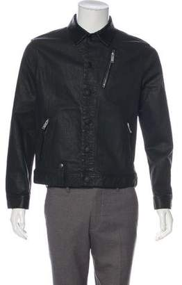 Alexander McQueen Leather-Trimmed Coated Denim Jacket