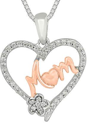 FINE JEWELRY 1/5 CT. T.W. Diamond 10K Rose Gold Over Silver Mom Heart Pendant Necklace