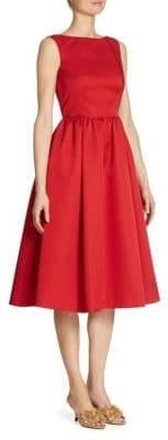Prada Radzmire Wool& Silk Open Back Fit-&-Flare Dress