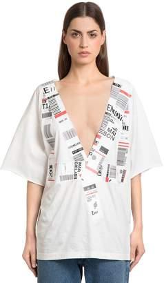Maison Margiela Airport Stickers Cotton Jersey T-Shirt