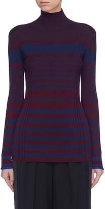 Victoria Beckham VICTORIA, Variegated stripe ribbed wool blend turtleneck sweater