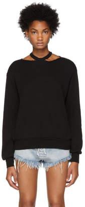 Unravel Black Cashmere Cut-Out Crewneck Sweater