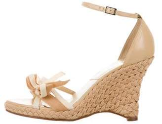 Christian Dior Bow Woven Wedge Sandals Tan Bow Woven Wedge Sandals