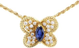 Heritage Graff Diamonds Graff Diamonds 18K 0.70 Ct. Tw. Diamond & Sapphire Butterfly Necklace