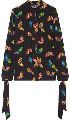 Boutique Moschino - Pussy-bow Printed Silk Crepe De Chine Blouse - Black $525 thestylecure.com