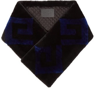 Givenchy Logo Shearling Scarf - Womens - Blue