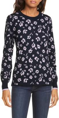 Rebecca Taylor Floral Intarsia Merino Wool Pullover