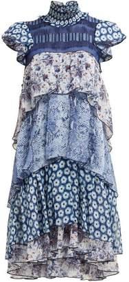 Diane von Furstenberg Matilda Tiered Ruffled Dress - Womens - Blue Print