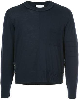 Thom Browne Crewneck Pullover With Inside Out Grosgrain Patch Pocket In Fine Merino Wool