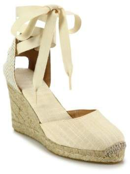Soludos Canvas Ankle-Wrap Wedge Espadrilles
