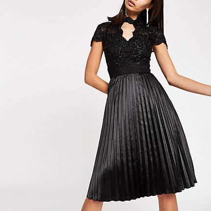 Womens Chi Chi London Black lace flare dress